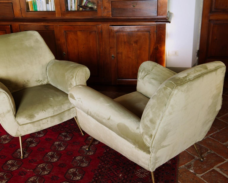Two Armchairs Gigi Radice for Minotti Fully Restored High Pile Cotton Velvet 12