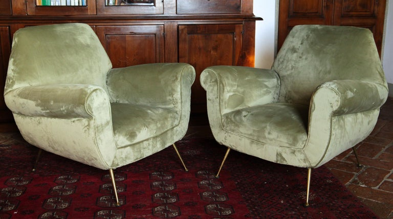 Two armchairs designed by Gigi Radice. Made by Minotti in the 1950s.
