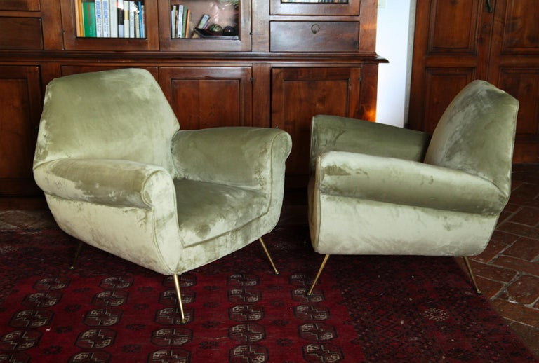 Mid-Century Modern Two Armchairs Gigi Radice for Minotti Fully Restored High Pile Cotton Velvet