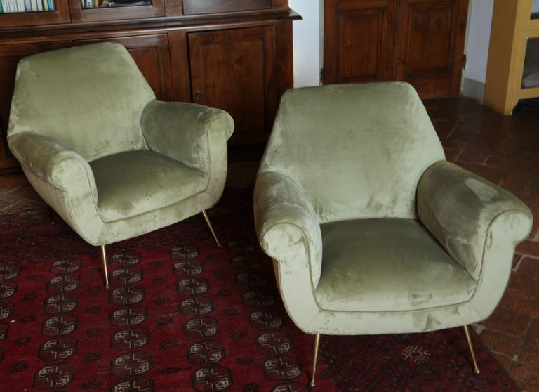 Italian Two Armchairs Gigi Radice for Minotti Fully Restored High Pile Cotton Velvet
