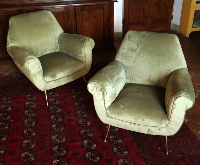 20th Century Two Armchairs Gigi Radice for Minotti Fully Restored High Pile Cotton Velvet