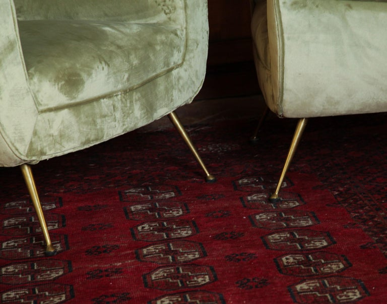 Brass Two Armchairs Gigi Radice for Minotti Fully Restored High Pile Cotton Velvet