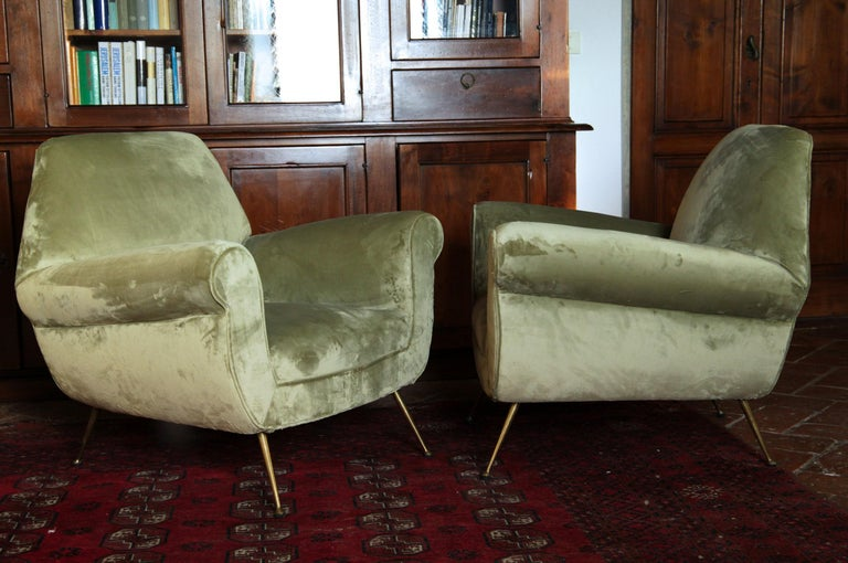 Two Armchairs Gigi Radice for Minotti Fully Restored High Pile Cotton Velvet 1