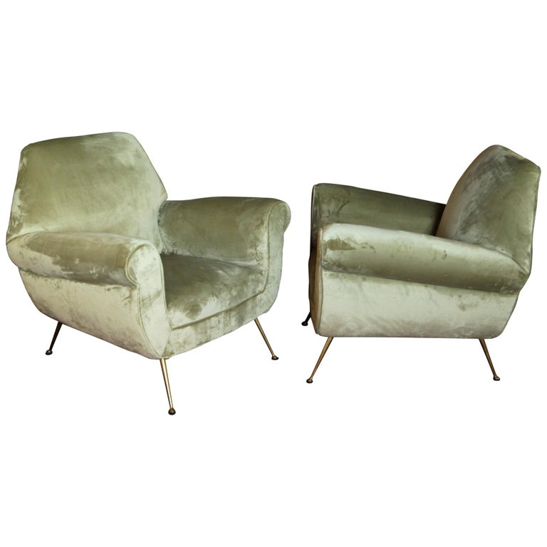 Two Armchairs Gigi Radice for Minotti Fully Restored High Pile Cotton Velvet