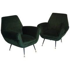 Two Armchairs Gigi Radice for Minotti Fully Restored High Pile Cotton Velvet