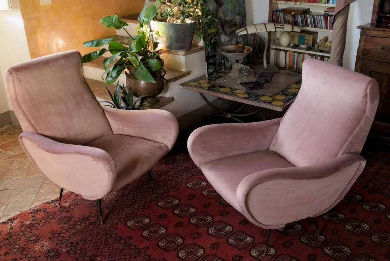 Two Armchairs, Fully Restored High Pile English Rose Cotton Velvet For Sale 4