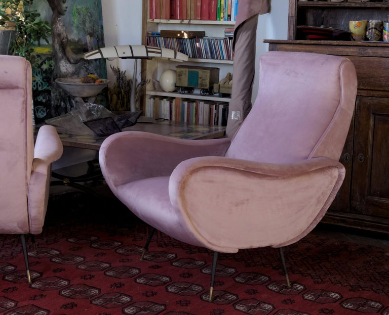 Two Armchairs, Fully Restored High Pile English Rose Cotton Velvet For Sale 5