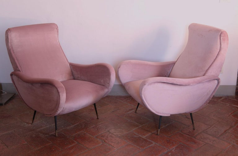 Two Armchairs, Fully Restored High Pile English Rose Cotton Velvet For Sale 6
