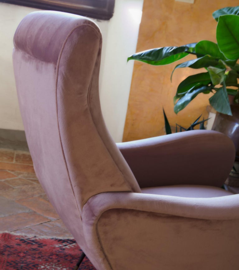 Two Armchairs, Fully Restored High Pile English Rose Cotton Velvet For Sale 7