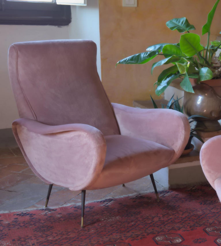Two Armchairs, Fully Restored High Pile English Rose Cotton Velvet For Sale 8
