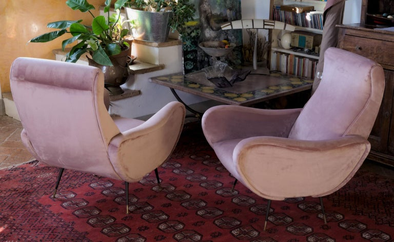 Two Armchairs, Fully Restored High Pile English Rose Cotton Velvet For Sale 9