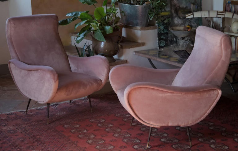 Two Armchairs, Fully Restored High Pile English Rose Cotton Velvet For Sale 10