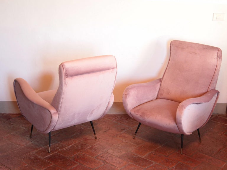 Two Armchairs, Fully Restored High Pile English Rose Cotton Velvet For Sale 11
