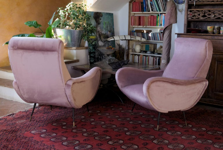 Italian Two Armchairs, Fully Restored High Pile English Rose Cotton Velvet For Sale