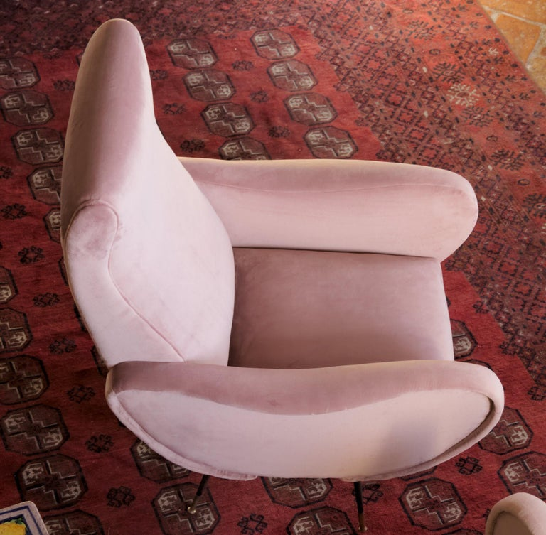 20th Century Two Armchairs, Fully Restored High Pile English Rose Cotton Velvet For Sale