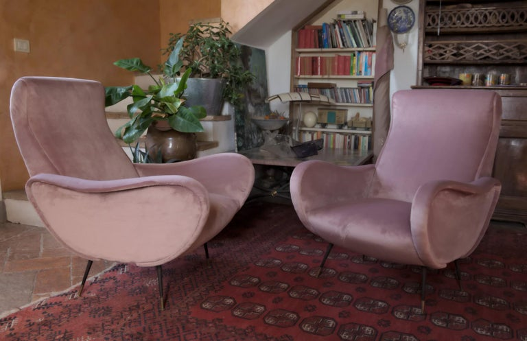 Brass Two Armchairs, Fully Restored High Pile English Rose Cotton Velvet For Sale