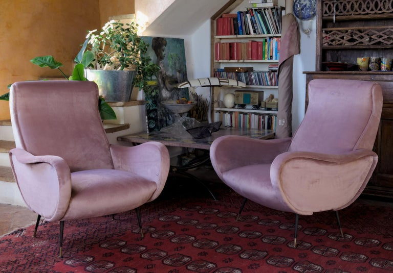 Two Armchairs, Fully Restored High Pile English Rose Cotton Velvet For Sale 2