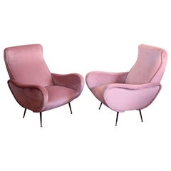 Two Armchairs, Fully Restored High Pile English Rose Cotton Velvet