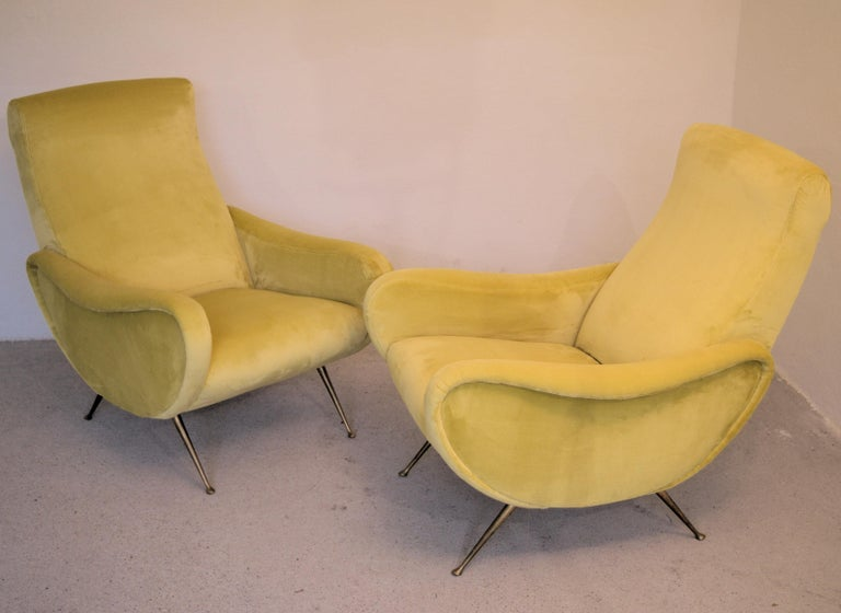 Two Armchairs Marco Zanuso Style, Fully Restored High Pile Canary Cotton Velvet For Sale 4