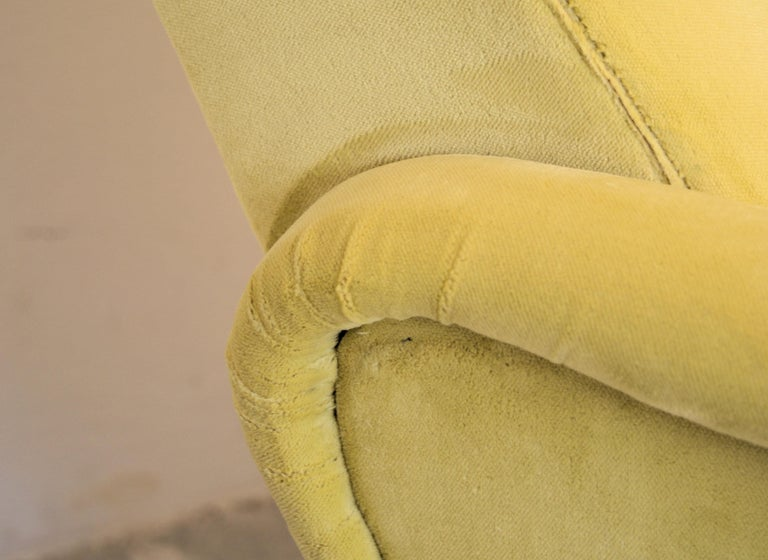 Two Armchairs Marco Zanuso Style, Fully Restored High Pile Canary Cotton Velvet For Sale 5