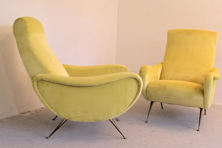 Two Armchairs Marco Zanuso Style, Fully Restored High Pile Canary Cotton Velvet For Sale 7