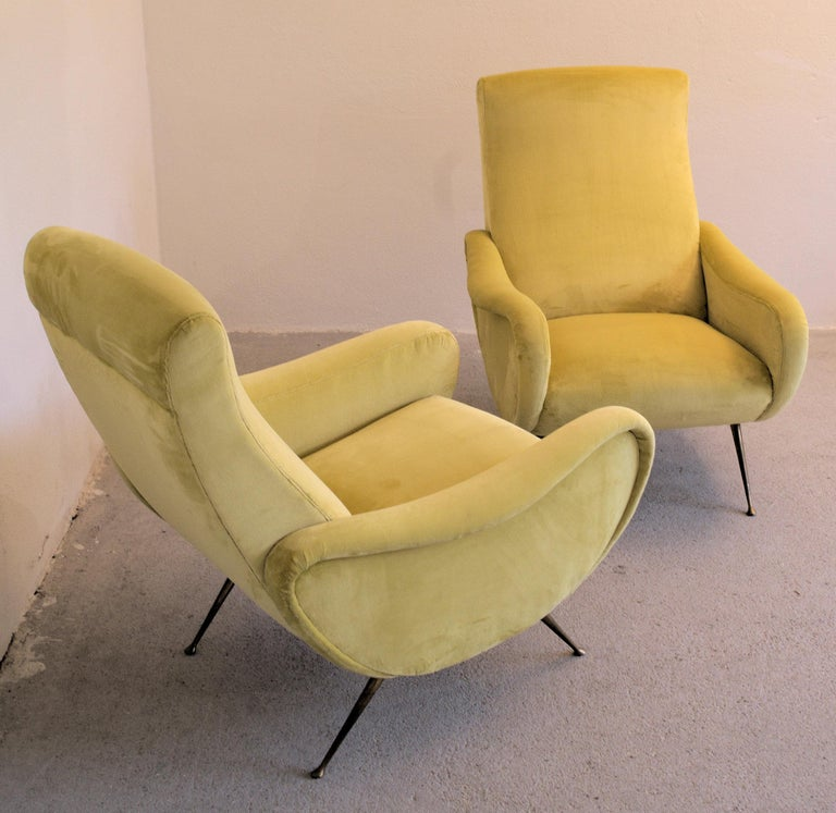 Two Armchairs Marco Zanuso Style, Fully Restored High Pile Canary Cotton Velvet For Sale 9
