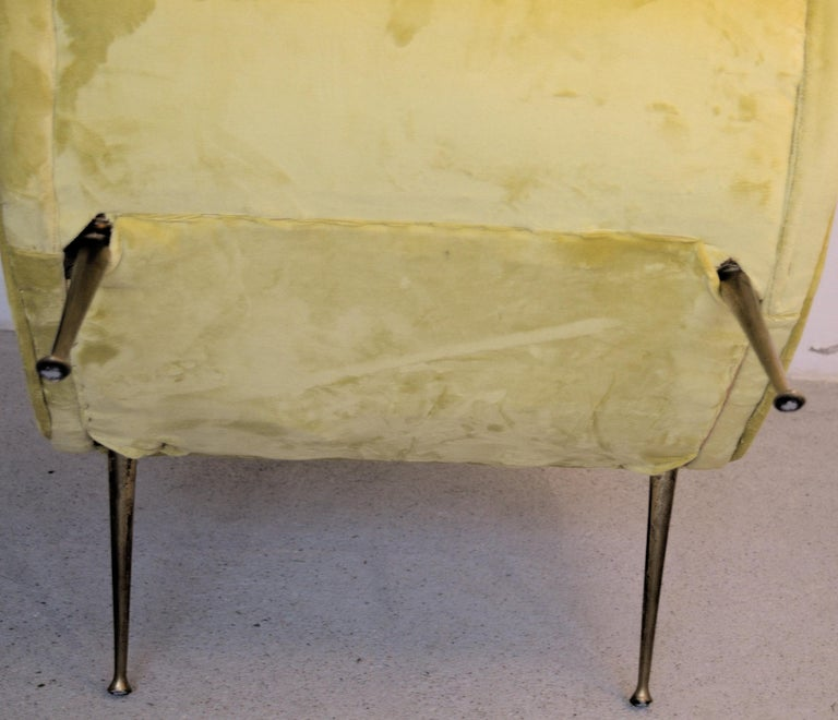 Two Armchairs Marco Zanuso Style, Fully Restored High Pile Canary Cotton Velvet For Sale 12