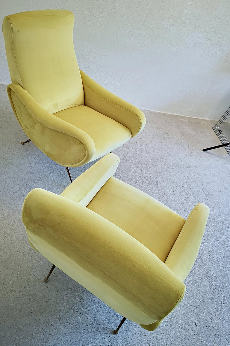 Two Armchairs Marco Zanuso Style, Fully Restored High Pile Canary Cotton Velvet For Sale 13