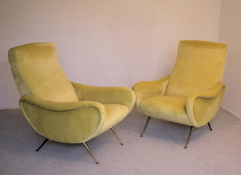 Mid-Century Modern Two Armchairs Marco Zanuso Style, Fully Restored High Pile Canary Cotton Velvet For Sale