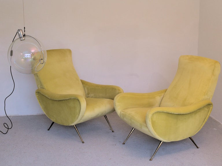 Italian Two Armchairs Marco Zanuso Style, Fully Restored High Pile Canary Cotton Velvet For Sale