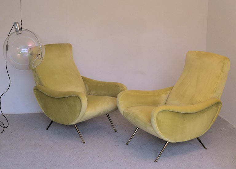 20th Century Two Armchairs Marco Zanuso Style, Fully Restored High Pile Canary Cotton Velvet For Sale