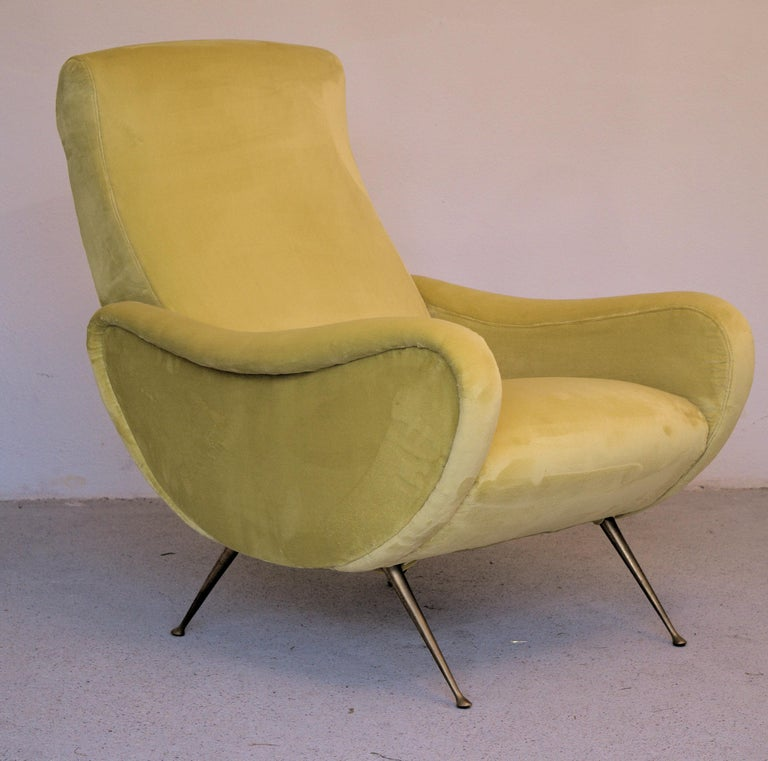 Two Armchairs Marco Zanuso Style, Fully Restored High Pile Canary Cotton Velvet For Sale 1
