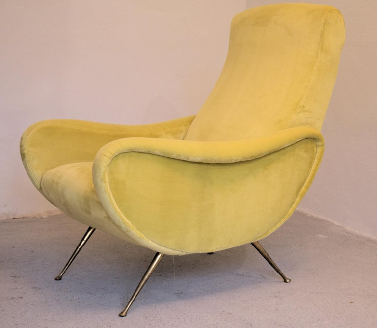 Two Armchairs Marco Zanuso Style, Fully Restored High Pile Canary Cotton Velvet For Sale 2