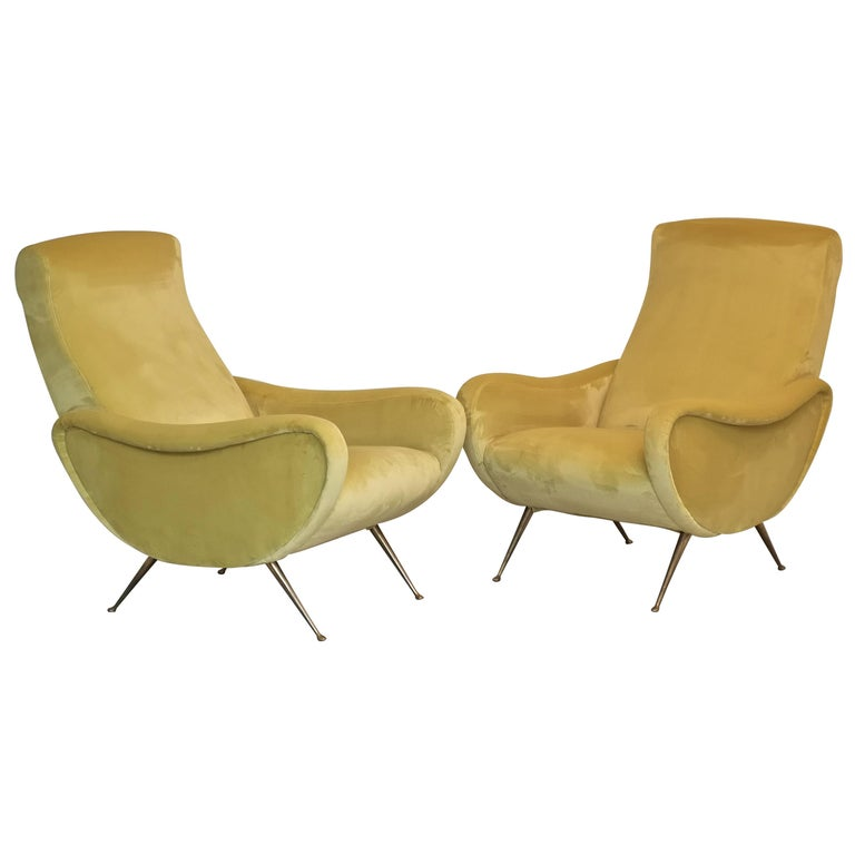 Two Armchairs Marco Zanuso Style, Fully Restored High Pile Canary Cotton Velvet For Sale