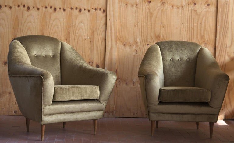 Two Armchairs, Midcentury Italian, Reupholstered Fully Padded, Cotton Velvet For Sale 9