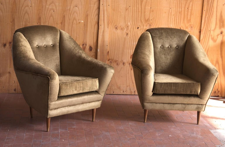 Two Armchairs, Midcentury Italian, Reupholstered Fully Padded, Cotton Velvet For Sale 11