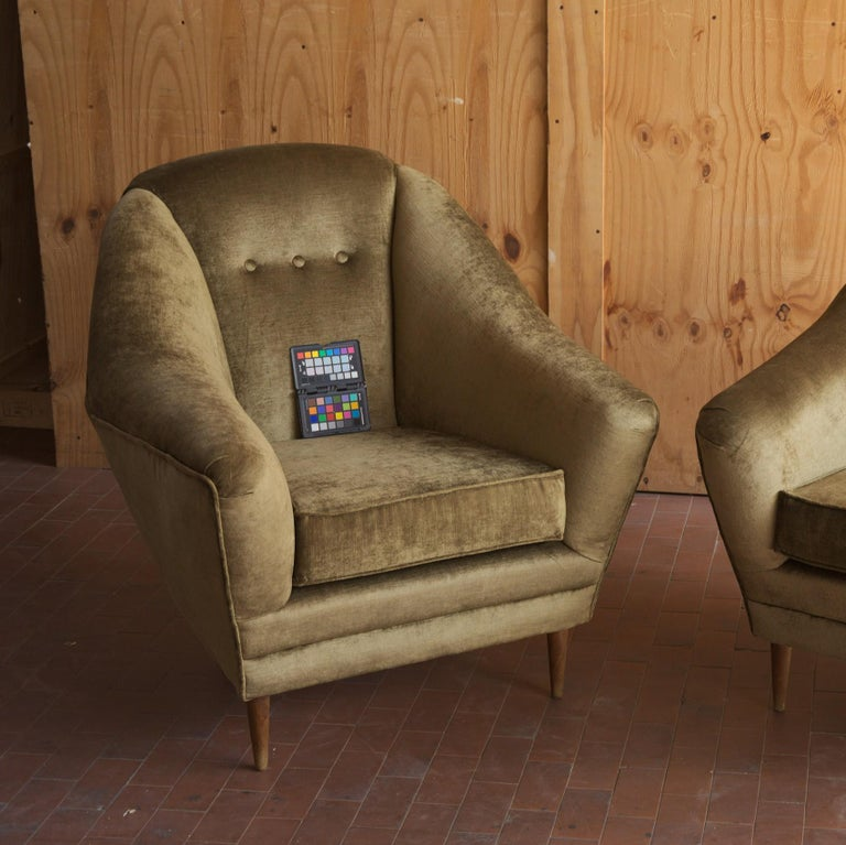 Two Armchairs, Midcentury Italian, Reupholstered Fully Padded, Cotton Velvet For Sale 12