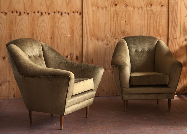 Two Armchairs, Midcentury Italian, Reupholstered Fully Padded, Cotton Velvet For Sale 13