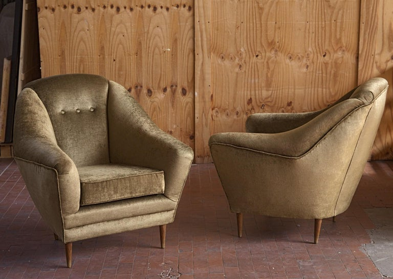 Mid-Century Modern Two Armchairs, Midcentury Italian, Reupholstered Fully Padded, Cotton Velvet For Sale