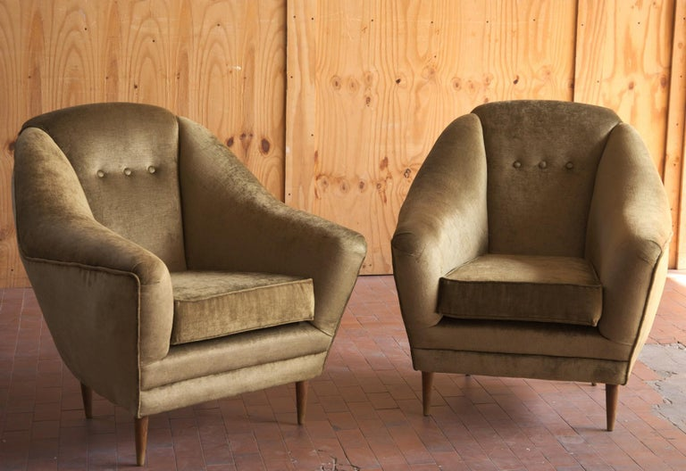 Two Armchairs, Midcentury Italian, Reupholstered Fully Padded, Cotton Velvet For Sale 1