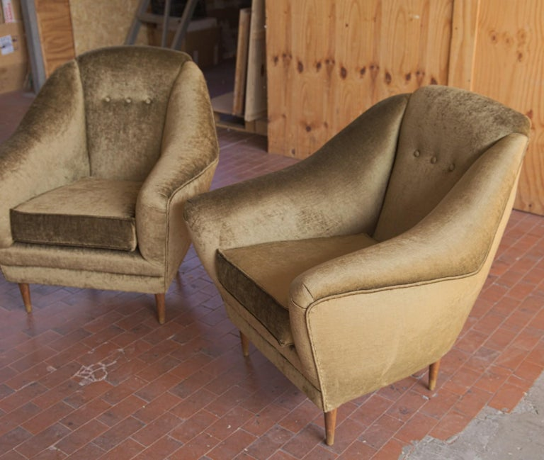 Two Armchairs, Midcentury Italian, Reupholstered Fully Padded, Cotton Velvet For Sale 2