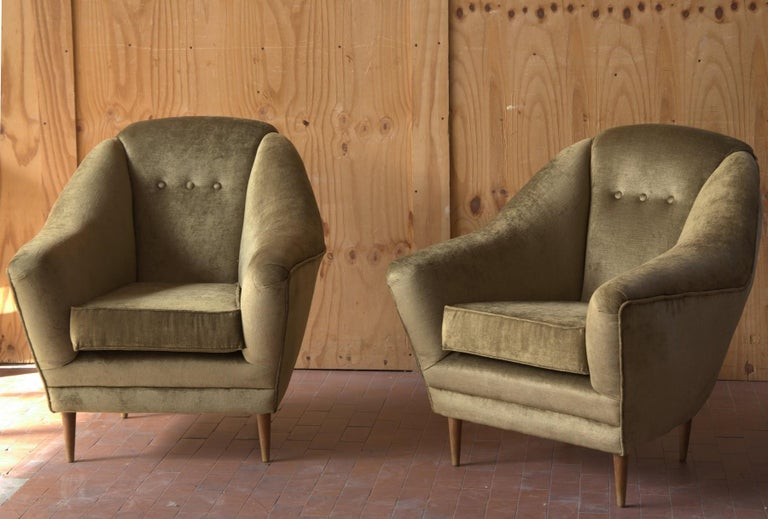 Two Armchairs, Midcentury Italian, Reupholstered Fully Padded, Cotton Velvet For Sale 3