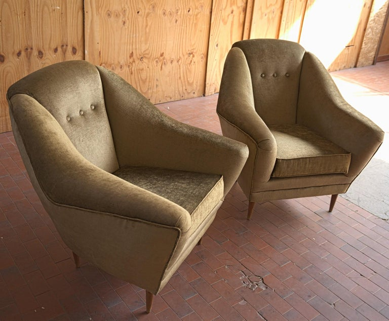 Two Armchairs, Midcentury Italian, Reupholstered Fully Padded, Cotton Velvet For Sale 4