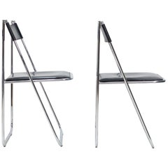 Two Arrben Tamara Folding Chairs in Black Leather and Chrome, 1970s