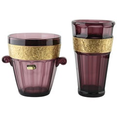 Two Art Deco Amethyst Vases by Walther 'Germany' with Classical Frieze