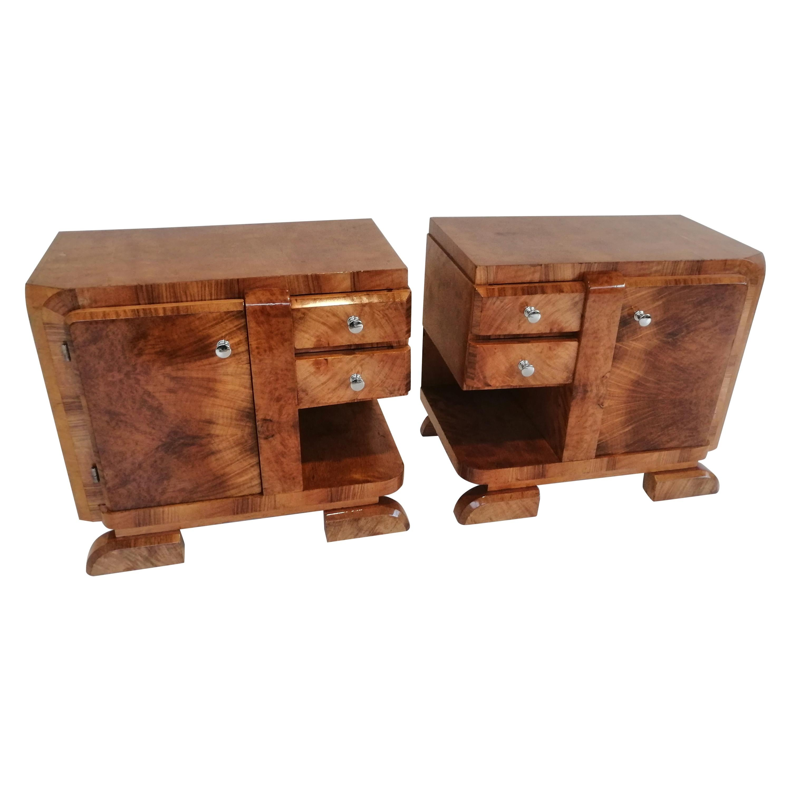 Two Art Deco Bedside Tables from 1940