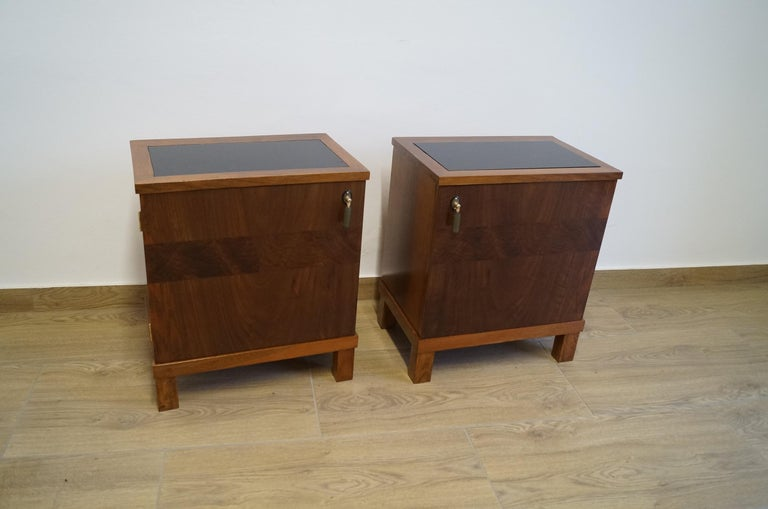 We present two Art Deco bedside tables from 1950  Every piece of furniture that leaves our workshop from the beginning to the end is subjected to manual renovation, so as to restore its original condition from many years ago (It has been cleaned