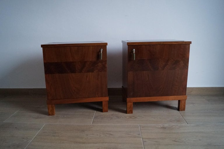 Walnut Two Art Deco Bedside Tables from 1950 For Sale