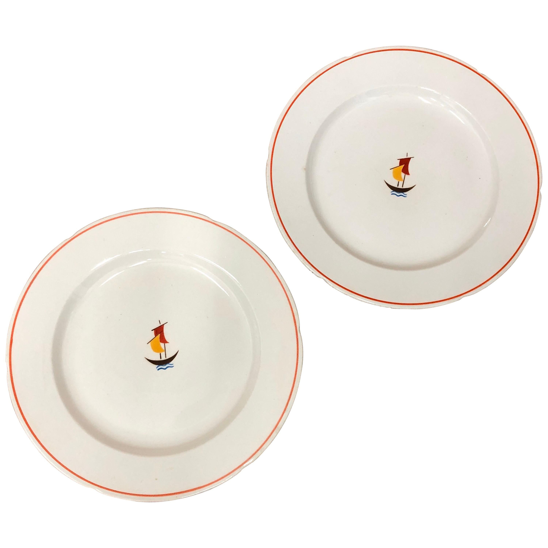 Two Art Deco Ceramic Plates Designed by Gio Ponti for Richard Ginori