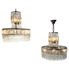 Two Art Deco Chandeliers, France, circa 1940, in the Style of Baccarat